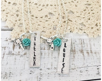 Thelma and Louise necklace, best friends charm necklace, bestie Thelma and Louise jewelry, feminist necklace, Galentine's Day