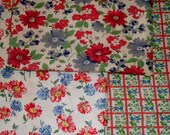3 Vintage Feed Sack Fabric Assortment  Red Blue Green