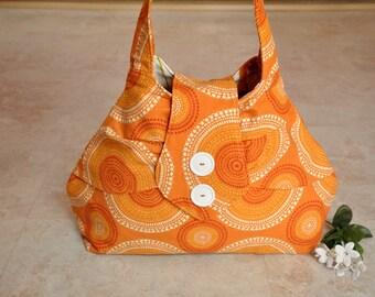 Beautiful orange pouch purse, one of a kind pleated purse, unique designer handbag,  cute shoulder bag, boho bag, tote bag with pockets