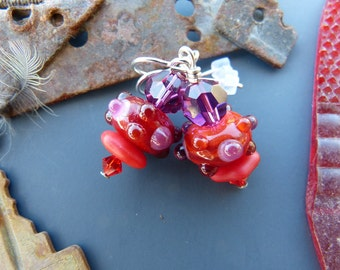 Fuchsia and Bright Red Lampwork Glass Bead Earrings