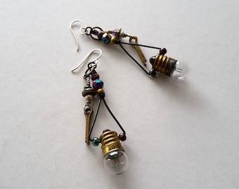 Upcycled Light Bulb Earrings, Assemblage Earrings, Industrial Chic Earrings