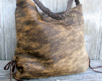 Brindle Cowhide Slouchy Hobo Bag by Stacy Leigh