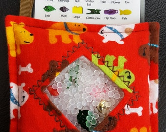 I Spy Bag - Mini with SEWN Word List and Detachable PICTURE LIST- Dogs and Bones