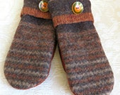 Repurposed Sweater Wool Mittens in Brown and Rust, Adult Size