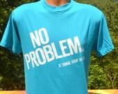 vintage 80s t-shirt ST. THOMAS virgin islands no problem soft thin tee shirt Medium Large teal