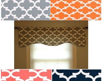 """ENDING SOON Window Valance/Curved or Straight-LINED-Curtain-Kitchen-Bedroom-Bathroom-Dining-53""""x 16"""", 18"""", 20""""Gray-Navy-Coral-Apache Orange"""