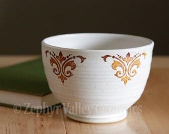Stoneware Bowl - Salad Bowl - Pasta Bowl - Pottery Bowl - Cereal Bowl - Soup Bowl - Damask Scroll