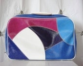 On SALE!  Vintage Patchwork Suitcase, Purples Blues and White, Small, Vanity Train Case, Overnight Bag, Luggage, Children, Going to Grandma'