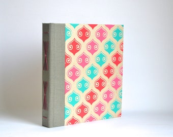 Starburst Journal, Hand Bound Album Book, Red, Teal and Gold Hardcover Album