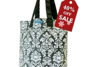 55%off Holiday Sale! T3 Manhasset Black white damask purse (laminated damask) bucket shopping tote bag TESAGE by Yukiko Sato New York