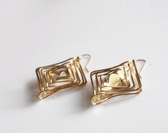 Square Gold Earrings, Modern Gold Earrings, Contemporary Gold Earrings, Dangle Gold Earrings, Statement Earrings, Geometric Ea