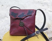 Deep Red Leather Birdie Shoulder Bag