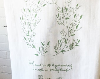 FLOUR SACK Tea Towel Screenprint with Each Moment Inspirational Quote in Green
