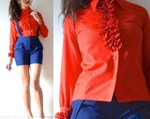 Vintage 70s Red Ruffled Long Sleeved Tuxedo Blouse (size xs, small)