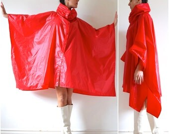 Vintage 60s 70s Aqua Sheen Red Nylon Cowl Neck Windbreaker Poncho