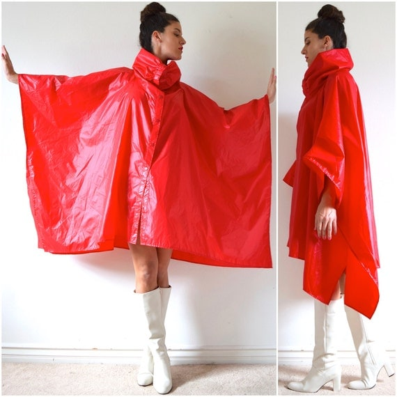 SPRING SALE/ 20% off Vintage 60s 70s Aqua Sheen Red Nylon Cowl Neck Windbreaker Poncho
