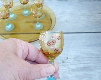 Antique 1900 old French enameled handpainted set of 6  glasses / liquor / cordial