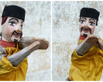 GUIGNOL puppet Antique french wooden hand carved  character puppet Punch & Judy