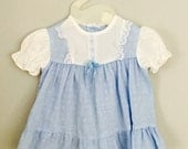 80s Lacy Blue Floral Dress 6-9 months