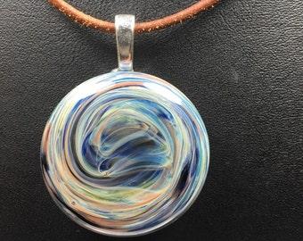 Hand blown glass boro pendant borosilicate cabochon