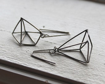 Sale - Asymmetrical geometric 3-D earrings - Himmeli inspired, oxidized sterling silver, one of a kind