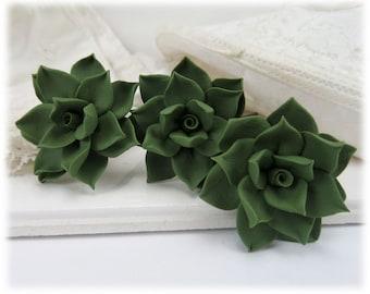Green Succulent Hair Pins - Succulent Hair Clip, Succulent Bobby Pin, Succulent Hair Flower, Succulent Wedding Hair Pins, Green Hair Flower