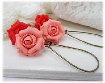 Coral Rose Dangle Earrings - Coral Rose Drop Earrings