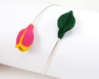 Tulip Garden Bracelet - Tulip Jewelry, Spring Flower Jewelry, Mother Gift Idea
