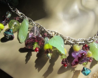 Berries And Mint Handmade By Susan Every OOAK Lampwork Beaded Necklace, Ships Worldwide