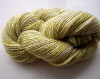 Sock yarn hand painted luxury pure alpaca 100g, olive green, lemon yellow, indie dyed