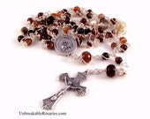 St Kateri Lily of The Mohaws Rosary Beads In Faceted Striped Brown Agate by Unbreakable Rosaries