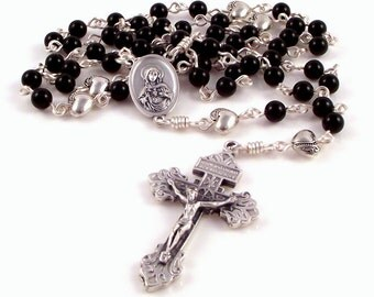 Immaculate Heart of Mary Rosary Beads In Black Onyx With Pardon Crucifix by Unbreakable Rosaries