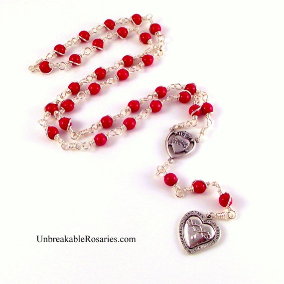 Most Precious Blood of Jesus Rosary Chaplet in Blood Red Czech Glass by Unbreakable Rosaries