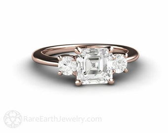 Asscher Forever One Moissanite Engagement Ring 3 Stone Conflict Free 14K or 18K Gold Platinum