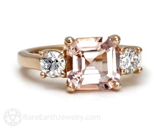 Asscher Morganite Engagement Ring 18K Morganite Ring 3 Stone Asher Conflict Free Diamond Custom Wedding Ring