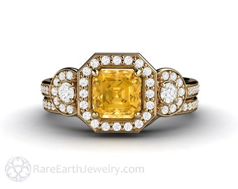 Yellow Sapphire Engagement Ring Asscher Halo Bridal Set Sapphire Ring Custom Wedding Set in 14K or 18K Gold