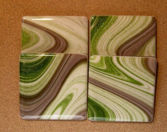 Fused Glass Coasters - Fused Glass Barware - Fused Glass Candle Holder- Fused Glass Home Decor - Bridal Shower Gift - Housewarming Gift