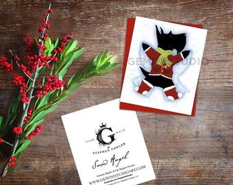 Scottie Scottish Terrier Snow Angel Holiday Card blank greeting cards by Stephen Fowler 12 pack