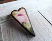 Sale! Romantic Cottage Chic Rose Floral 1 1/2 inch Elongated Decoupaged Heart Wood ART Tile Pendant Tile