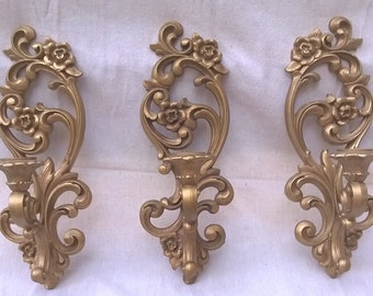 Vintage Candle Sconces Homco 1971 Set of three for grouping, Minty Condition, Plastic Hollywood Regency