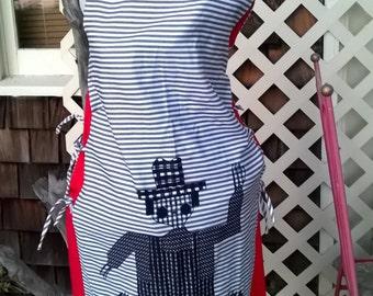 Super 60s Dress, A line Bateau Neck with Farmer Motif, Pillow Ticking, Country Fun, Classic, Handmade sz medium, 32 or 34 Bust