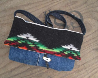 Vintage Indian Blanket purse Small Crossbody Purse Handmade Denim and native wool bag