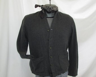 Gray 50s Sweater Vintage 50s Cardigan sweater Penney's Towncraft Vintage Gray wool Sweater button front V neck sweater M