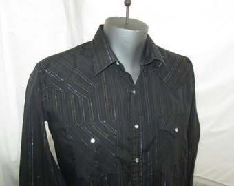 Black Cowboy Shirt 80s Western Vintage glitter stripes shirt Silver and Gold 80s vintage Pearl snap shirt XL