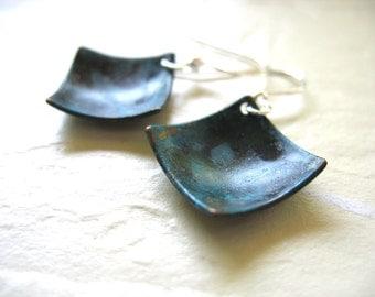 Copper earrings, Oxidized Copper Earrings, Diamond Copper Dome Earrings, Handmade Copper Dangle Drop Earrings, Copper Jewelry