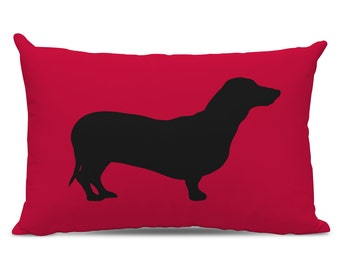 Dachshund Silhouette Pillow - Dachshund Lumbar Pillow - Your Choice of Color - dog breed silhouette pillow - dog home decor - Doxie Pillow