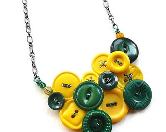 Christmas in July Sale Green and Gold Yellow Necklace made from Vintage Buttons - Packers Fan Jewelry