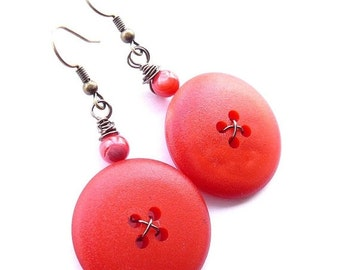 Gift Sale Big Poppy Red Vintage Button Earrings - Make a Statement
