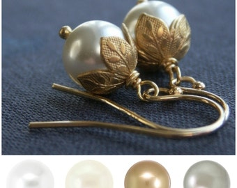 Flower bud pearl earrings, Swarovski Crystal pearls, gold leaf earrings, custom color, ivory pearls, white pearls, custom bridesmaid gift