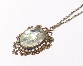 Crystal bridal necklace antique brass jewel wedding jewelry victorian vintage style elegant gem pendant
